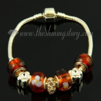 silver charms bracelets with murano glass rhinestone beads