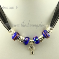 silver charms necklaces with european murano glass beads