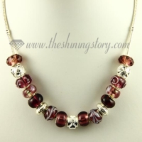 silver charms necklaces with rhinestone murano glass beads