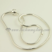 silver plated european necklaces fit for big hole charms beads