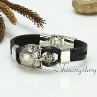 skull bracelets genuine leather wristbands bracelets gothic punk style jewelry