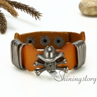skull crossbones bracelets genuine leather wristbands with buckle death gothic punk bracelets