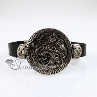 snake fleur de lis snap wrap bracelets genuine leather
