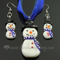 snow man venetian murano glass pendants and earrings jewelry