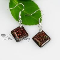 square fancy color dichroic foil glass dangle earrings