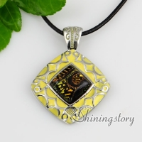 square fancy color dichroic foil glass necklaces with pendants enameled silver plated