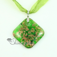 square glitter murano lampwork glass venetian necklaces pendants