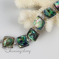 square seawater rainbow abalone shell mother of pearl toggle charms bracelets