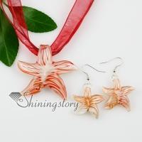 star fish glitter with lines lampwork murano italian venetian handmade glass pendants and earrings