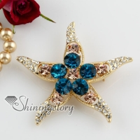 starfish colorful rhinestone scarf brooch pin jewelry
