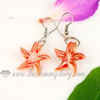 starfish lines lampwork murano glass earrings jewelry