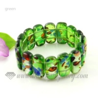 stretch foil lampwork murano glass beads bracelets jewelry