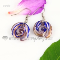 swirled foil lampwork murano glass earrings jewelry