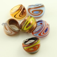 swirled glitter lampwork murano glass finger rings jewelry
