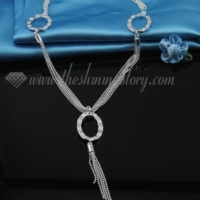 tassel 925 sterling silver plated toggle necklaces jewelry