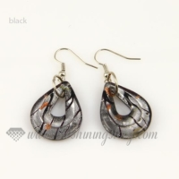 tear drop foil lampwork murano glass earrings jewelry