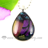 teardrop handmade dichroic glass necklaces pendants jewelry