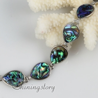 teardrop seawater rainbow abalone shell mother of pearl toggle charms bracelets