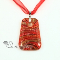 trapezoid glitter foil with lines murano lampwork glass venetian necklaces pendants