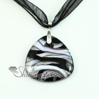 triangle glitter silver foil with lines murano lampwork glass venetian necklaces pendants