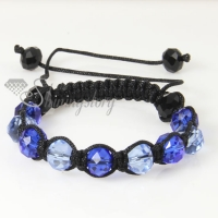 two color alternating macrame crystal beads bracelets jewelry