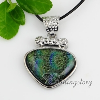 valentine's day with lines dichroic foil glass pendants for necklaces silver plated