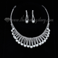 wedding bridal prom rhinestone pearl necklaces and earrings