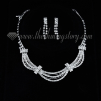 wedding bridal prom rhinestone wave chain necklces and earrings 2