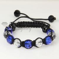 white alternating macrame crystal beads bracelets jewelry