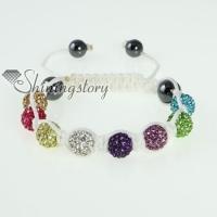 white cord macrame disco glitter ball pave beads bracelets
