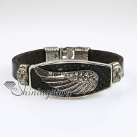 wings fleur de lis snap wrap bracelets genuine leather