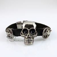 wolf skull fleur de lis snap wrap bracelets genuine leather