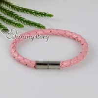 woven magnetic buckle pu leather bracelets unisex