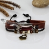 adjustable lock genuine leather charm bracelets unisex design A