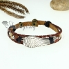 angel wing charm genuine leather wrap bracelets brown