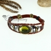crystal charm genuine leather wrap bracelets unisex design B