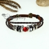 crystal charm genuine leather wrap bracelets unisex design C