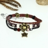 flower leaf charm genuine leather wrap bracelets design C
