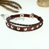 genuine leather charm wrap bracelets unisex brown