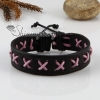 genuine leather wristbands adjustable cotton drawstring cross bracelets unisex design E