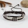 genuine leather wristbands adjustable drawstring cotton bracelets unisex design E