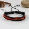 genuine leather wristbands adjustable drawstring cotton bracelets unisex design F