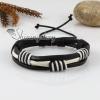 genuine leather wristbands adjustable drawstring cotton bracelets unisex design A