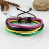 genuine leather wristbands adjustable drawstring multi layer bracelets unisex design E