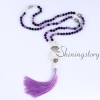 mala beads wholesale semi precious stone 108 mala bead necklace with tassel healing jewelry hamsa hand necklace design E