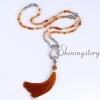 mala beads wholesale semi precious stone 108 mala bead necklace with tassel healing jewelry hamsa hand necklace design F