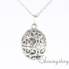 oval silver locket necklace essential oil necklace wholesale locket necklace with charms inside aroma pendant metal volcanic stone openwork design E
