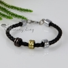 woven charm genuine leather bracelets unisex black