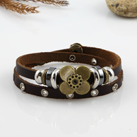 Multi layer leather wrap bracelets alloy