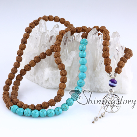necklace mala unisex buddhist beads prayer buddha bracelet teak dear zen x japa wood